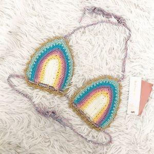 Pilyq Romance Crochet Triangle Bikini Top NWT ✨